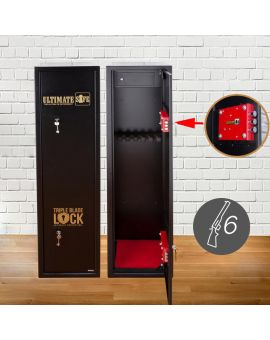 Ultimate Safe® 6 Gun Cabinet for Shotguns and Rifles with Lockable Internal Ammunition Box
